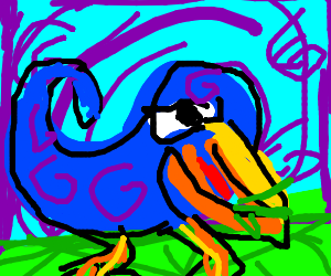 abstract bird eating grass
