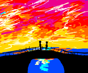 two people on a bridge in the sunset