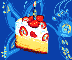 Cake. With Strawberries. And a Butterfly. Blue