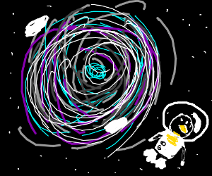 FLYING PENGUIN IN SPACE.