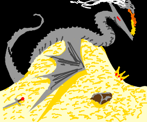 Ancient silver dragon on pile of gold