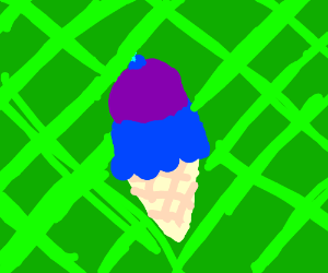 Blue and purple ice-cream with a blueberry