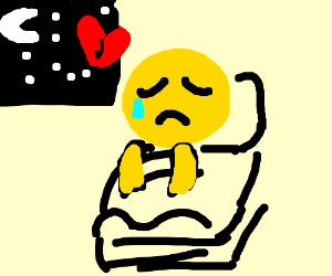 emoji man brokenhearted that it is bed time