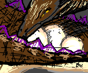 A dragon, guarding their eggs in the nest
