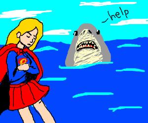 Supergirl doesn't help a Shark