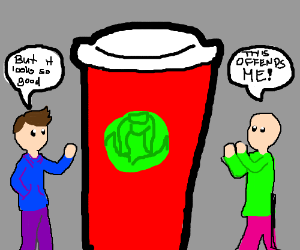 two people argue over giant starbucks cup