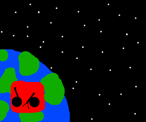 Earth with an angry red square face