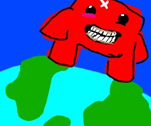 Giant Meat Boy on top of the world