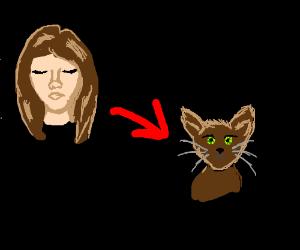 A person transforms into a cat.