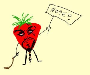 strawberry holding a nope sign