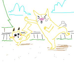 Pikachu imitating a yellow cat/dog thing