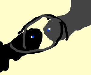Black stringray hugging grey stingray