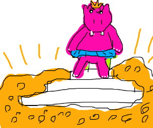 Queen Hippo on throne, pile of gold close