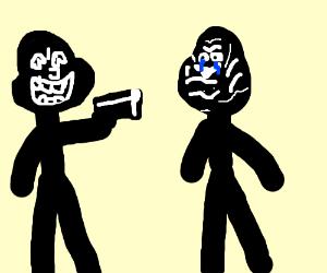Stick man points gun at innocent stick man
