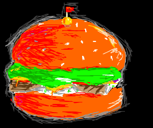 Hamburger with gold ball hole with red flag on