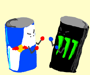 A RedBull arguing with a Monster Energy