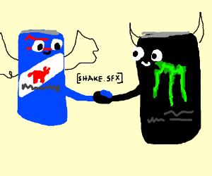 Redbull and monster shaking hands