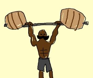 barrel weightlifter w/ mustache