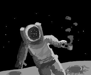 having tea on the moon.