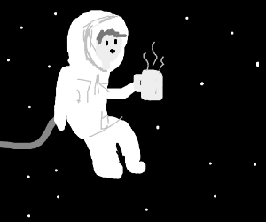 Astronaut relaxes in space with some coffee