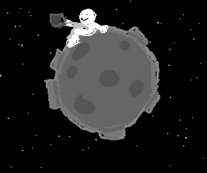 man drinking coffee on the moon