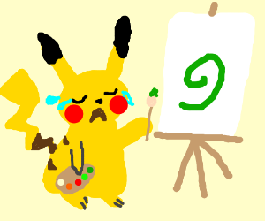 pikachu painting while crying