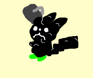 bucket soaks black tar on green pickachu