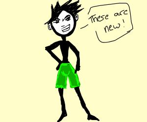 green knee pants