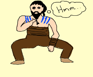 Thoughtful Khal Drogo squatting wide