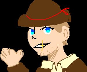 a cowboy waving