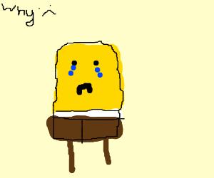Spongebob Squarepants sad and crying.