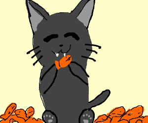 Kawaii Anime Kitten With A Ton Of Food Drawing By Ana Rita Farinha