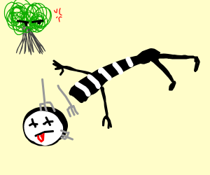 Mime beheaded by forks & spooky tree is angry