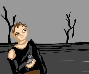 Man w/ bird on wasteland
