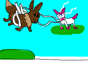 sylveon picking up eevee