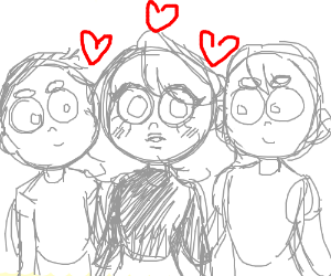 Two boys and a girl in love