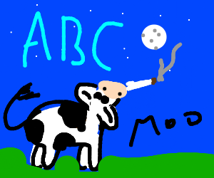 Cow smoking weed while staring at moon and letters