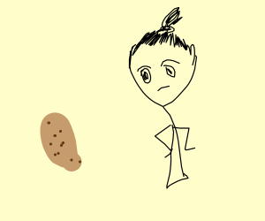 Girl looking at potato knishes