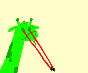 Green giraffe lizard kills ant with lazed eyes