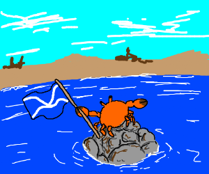 Crab has claimed the rock pile for Scotland!