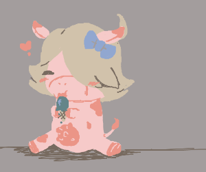 Cute lil cow eating some ice cream :3