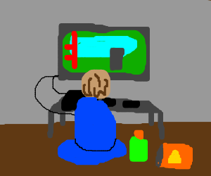 dude playing video games