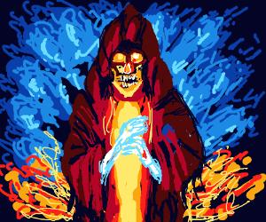 Evil sorcerer with lightning for hands