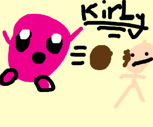 Kirby shooting meatballs
