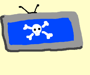 TV with blue screen of death