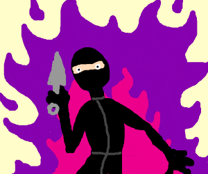Ninja surrounded by pink and purple flame