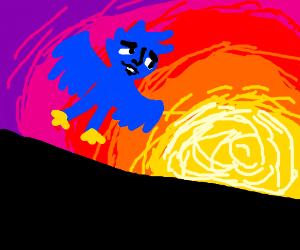 bird/man creature flying as sun sets