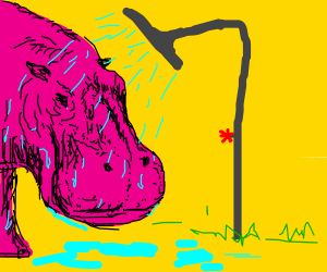 Standing Pink hippo taking a shower