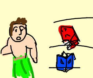 Man wearing grass skirt is attacked by angry books