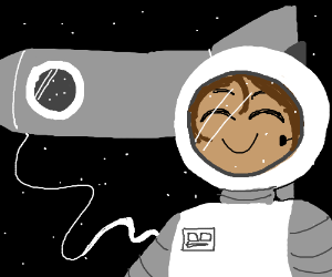 astronaut having a good time outside his ship